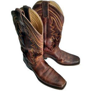 JUSTIN L4329 BROWN LEATHER SQUARE TOE COWBOY BOOTs